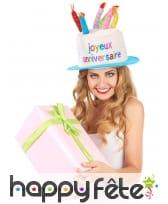 Chapeau gâteau d'anniversaire taille adulte, image 1