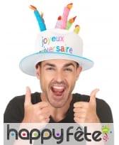 Chapeau gâteau d'anniversaire taille adulte, image 2