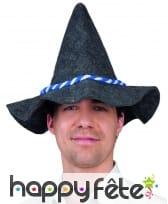 Chapeau gris de bavarois, cordelette bleue blanche