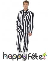 Costume gangster ligné noir et blanc