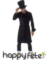Costume gothique noir de magicien pour homme