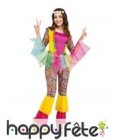 Costume hippie arc en ciel avec tulle, femme