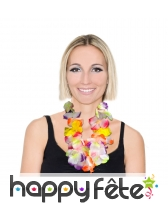 Collier Hawaïen de fleurs néon en tissu