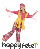 Costume hippie fleuri rose et jaune pour fillette, image 1