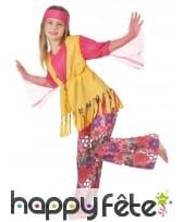 Costume hippie fleuri rose et jaune pour fillette, image 2