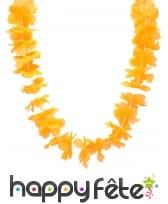 Collier hawaïen orange uni