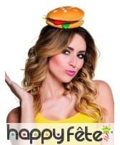 Chapeau hamburger sur serre tête