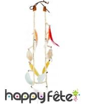 Collier Indien avec plumes, dents et perles, image 1