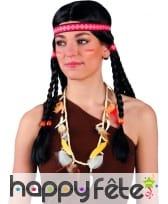 Collier Indien avec plumes, dents et perles