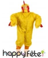Costume intégral de poulet jaune pour adulte