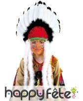 Coiffe indienne noir blanc rouge pour enfant, image 1