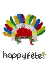Coiffe indien plume courte colorées