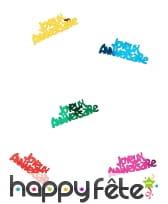 Confettis joyeux anniversaire multicolores de 5cm, image 1