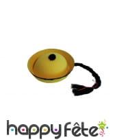 Chapeau jaune de chinois avec tresse