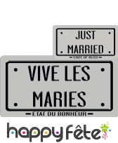Carton just married/vive les maries argenté