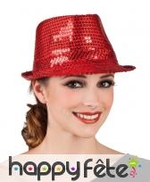 Chapeau justin rouge avec sequins