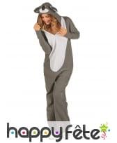 Combinaison koala à capuche pour femme