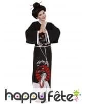 Costume kimono long noir de chinoise pour fille