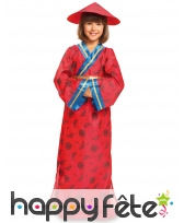 Costume kimono rouge asiatique pour fille