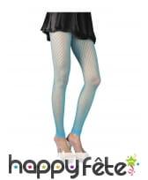 Collants large résille turquoise, sans pieds