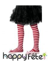 Collants lignés rouges et blancs pour enfant