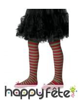 Collants lignés rouges et verts pour enfant