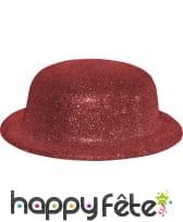 Chapeau melon avec paillettes rouge