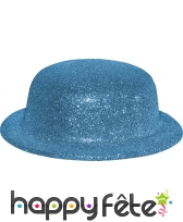 Chapeau melon avec paillettes turquoise