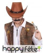 Chapeau marron camel de cowboy en feutrine, image 1