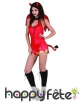 Costume moulant court de diablesse rouge, image 3