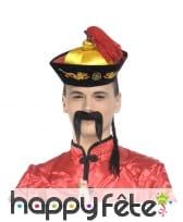 Chapeau mandarin de chinois avec tresse