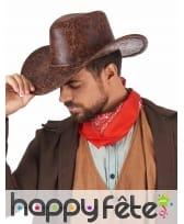 Chapeau marron de cowboy imitation Cuir, adulte, image 1