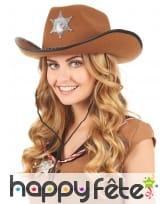 Chapeau marron de sherif avec étoile, image 1