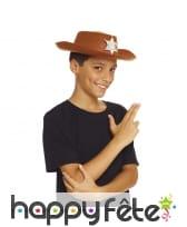 Chapeau marron de shérif pour garçon