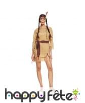 Costume marron d'indienne, robe courte