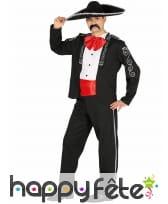 Costume mexicain d'apparat noir et rouge homme