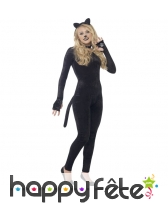 Costume moulant de chat en velour pour ado