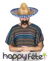 Chapeau mexicain en paille contour bleu, image 1