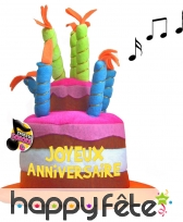 Chapeau musical en forme de gâteau d'anniversaire