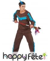 Costume marron et bleu d'Indien pour homme, image 1