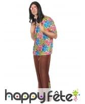Costume marron et fleuri de hippie pour homme, image 1