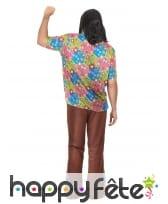 Costume marron et fleuri de hippie pour homme, image 2