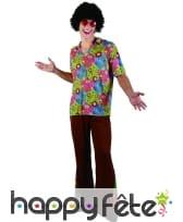 Costume marron et fleuri de hippie pour homme, image 3