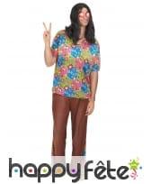 Costume marron et fleuri de hippie pour homme