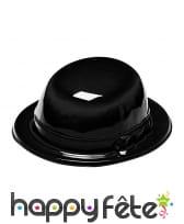 Chapeau melon noir en pvc pour adulte