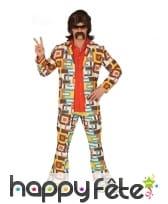 Costume motifs rectangle disco année 80 pour homme