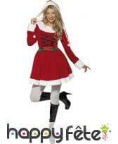Costume miss santa rouge avec capuche