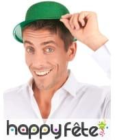 Chapeau melon vert uni pailleté, image 2
