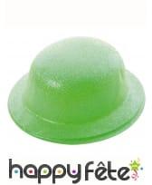 Chapeau melon vert uni pailleté, image 3