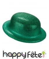 Chapeau melon vert uni pailleté